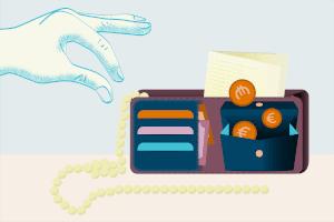 Der Gerichtsvollzieher kann bei der Taschenpfändung z. B. Bargeld und Wertgegenstände an sich nehmen.